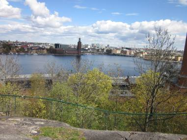 View of Stockholm from near the hostel. You can see the City Hall.
